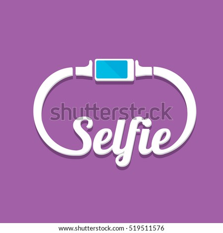 Taking Selfie Photo on Smart Phone concept icon set. vector Selfie label or Selfie badge on violet background