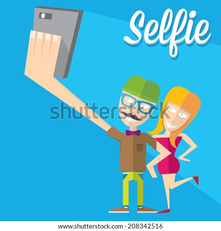 Taking Selfie Photo on Smart Phone concept on blue background. Young couple taking selfie photo together with mobile phone .vector illustration - stock vector