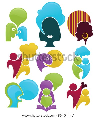 talk and communication , vector set of abstract people - stock vector