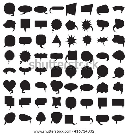 Talk and think comics bubbles silhouettes for communication large set. Vector illustration speech balloons collection. - stock vector