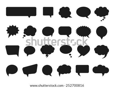 Talk and think comics bubbles silhouettes for communication. Vector illustration - stock vector