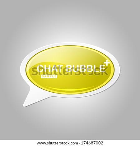 Talk Balloon Glossy Button Icon - stock vector