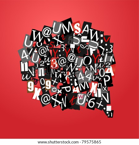 Talk bubble of letters from newspaper and magazines on red - stock vector
