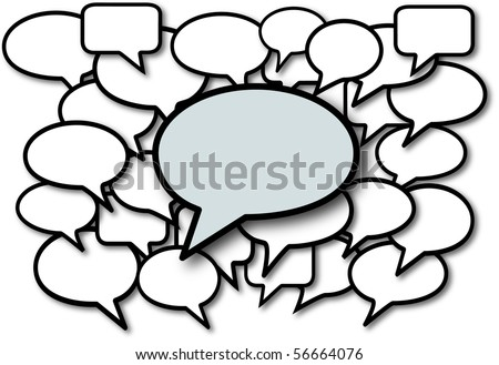Talk in speech bubbles social media communication copyspace. - stock vector