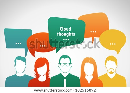 Talk . People with clouds  thoughts.  Vector illustration.  - stock vector