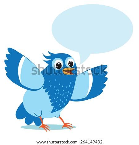 Talking Blue Bird. Vector Illustration on a White Background. Talking Bird Toy. Talking Bird Pets. Funny Talking Bird. Blue Bird Swearing. Blue Bird Animal Totem. Sitting Bird. Stupid Bird. - stock vector