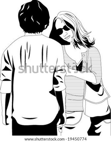 Talking boy and girl - stock vector
