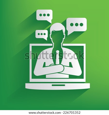 Talking businessman design on green background,clean vector - stock vector