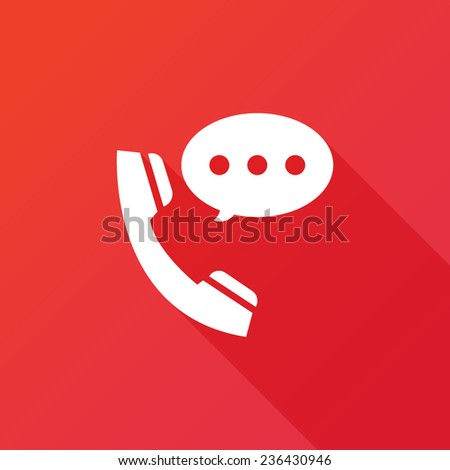 Talking by phone auricular symbol with speech bubble. Phone and bubble speech icon. Flat icon with long shadow - stock vector