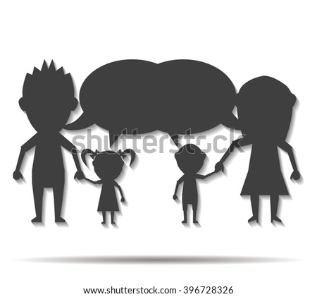 talking dolls family double shadow icon vector