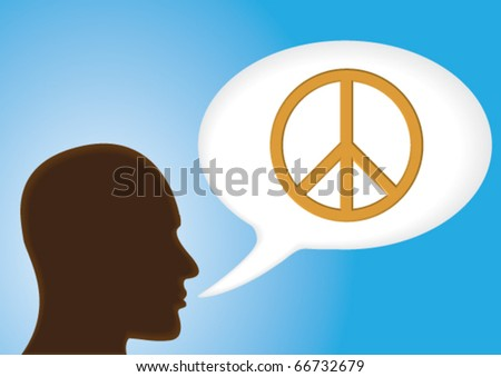 Talking head - Speech bubble showing Peace symbol - stock vector