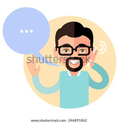 Talking on the phone man. In the flat style. Speech bubble - stock vector