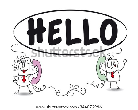 talking on the phone. Penelope and Joe are talking on phone.It's a metaphor of the communication and relationships between two persons - stock vector