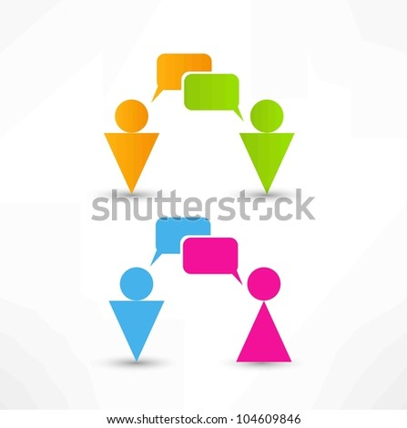 talking people icon - stock vector