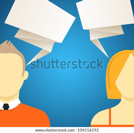 Talking people with speech clouds. Vector illustration - stock vector