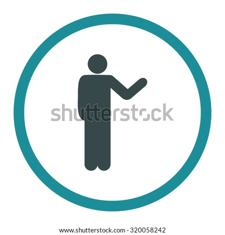 Talking person vector icon. This rounded flat symbol is drawn with soft blue colors on a white background.