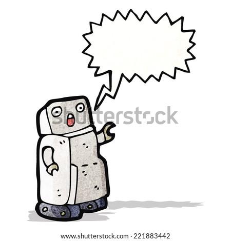 talking robot cartoon - stock vector