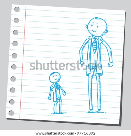 Tall and small businessmen - stock vector