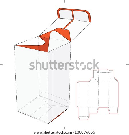 Tall Box with Bottom Auto Lock Die-cut Pattern - stock vector