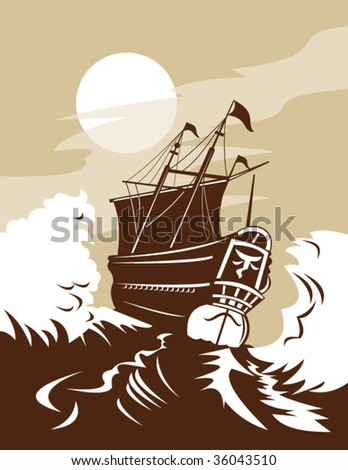 Tall historic ship sailing the rough high seas