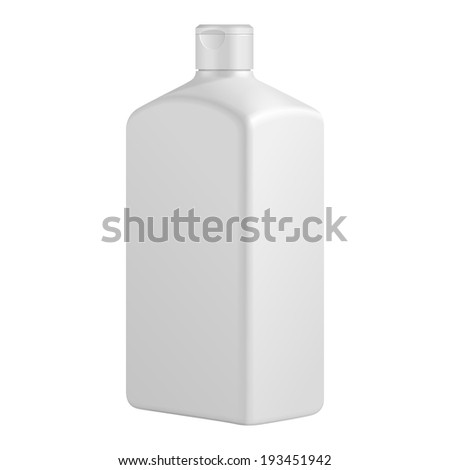 Tall Square Cosmetic Or Hygiene Grayscale White Plastic Bottle Of Gel, Liquid Soap, Lotion, Cream, Shampoo. Ready For Your Design. Illustration Isolated On White Background. Vector EPS10 - stock vector