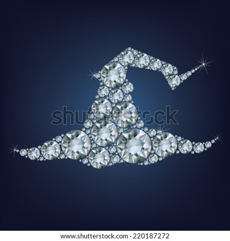 Tall witch hat made a lot of diamonds - stock vector