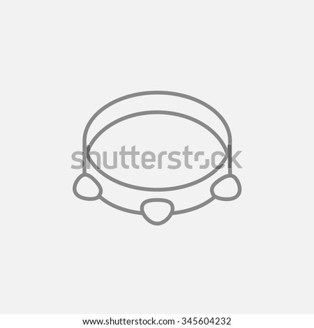 Tambourine line icon for web, mobile and infographics. Vector dark grey icon isolated on light grey background. - stock vector