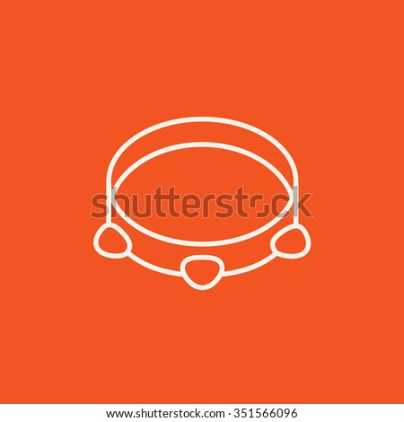 Tambourine line icon for web, mobile and infographics. Vector white icon isolated on red background. - stock vector