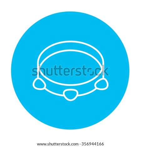 Tambourine line icon for web, mobile and infographics. Vector white icon on the light blue circle isolated on white background. - stock vector