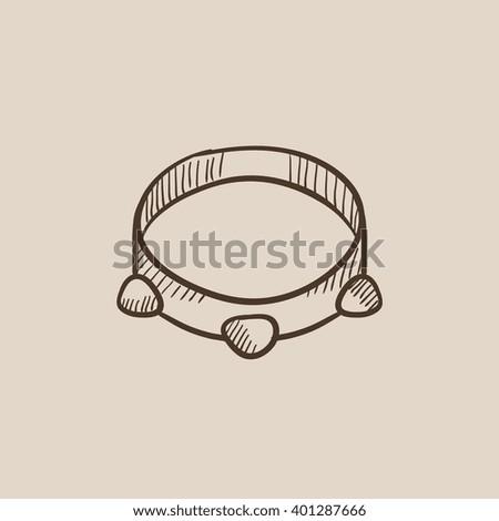 Tambourine sketch icon. - stock vector