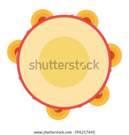 Tambourine vector illustration. Tambourine on white background. Illustration object musical instrument, tambourine, samba - stock vector