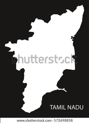 Tamil Nadu India Map Black Inverted Stock Vector - Tamilnadu map