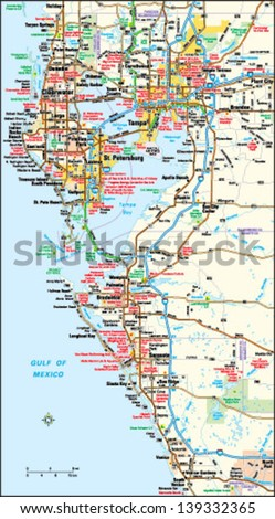 Tampa Florida Area Map Stock Vector (Royalty Free) 139332365 ...