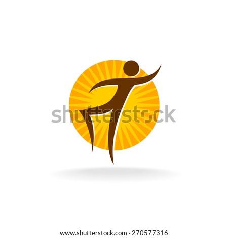 Tan figure with sun behind logo - stock vector
