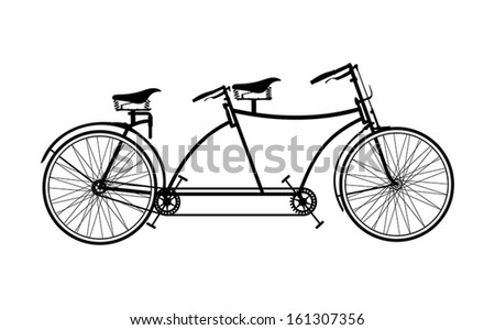 Tandem bicycle - stock vector