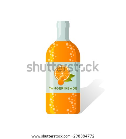 Tangerineade bottle with fresh juicy tangerine depicted on label - stock vector