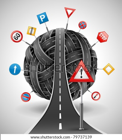tangle ball of roads with signs vector illustration - stock vector
