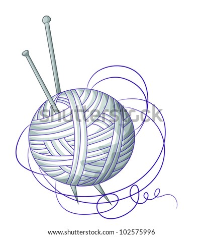 Tangle with silver thread - stock vector