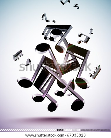 Tangled Up 3D Vector Musical Notes - stock vector