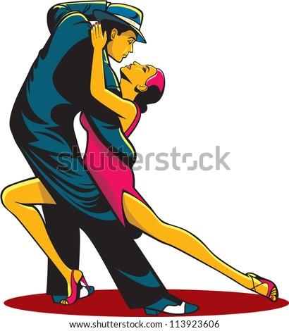 Tango dancers - stock vector