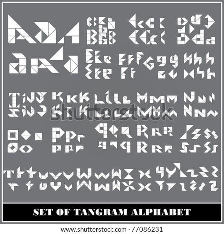 Tangram alphabet letters - stock vector