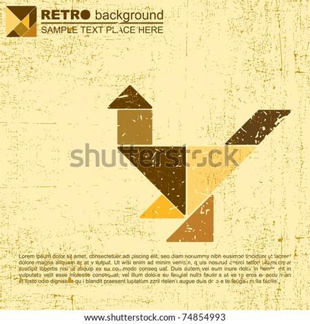 Tangram grunge background - vector - stock vector
