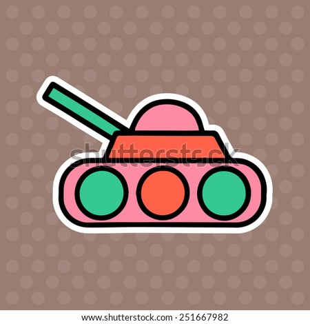 Tank cartoon illustration isolated on brown background - stock vector