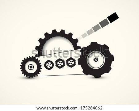 tank machine technology gears. retro gearwheel mechanism abstract bacground - stock vector