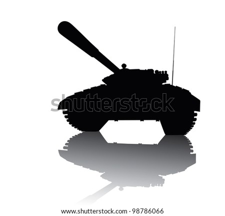 Tank silhouette with reflection - stock vector