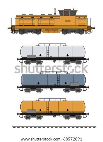 Tank train vector - stock vector