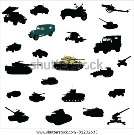 Tanks, artillery and vehicles from second world war vector - stock vector