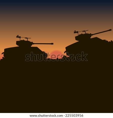 Tanks go up the hills at sunset - stock vector