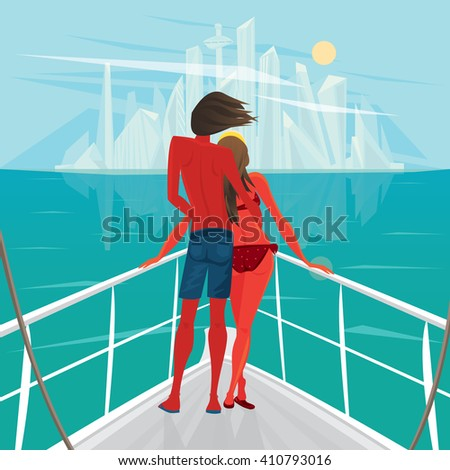 Tanned young couple standing on the deck of the ship and looks at the big modern city - End of holiday or Way home concept. Vector illustration - stock vector