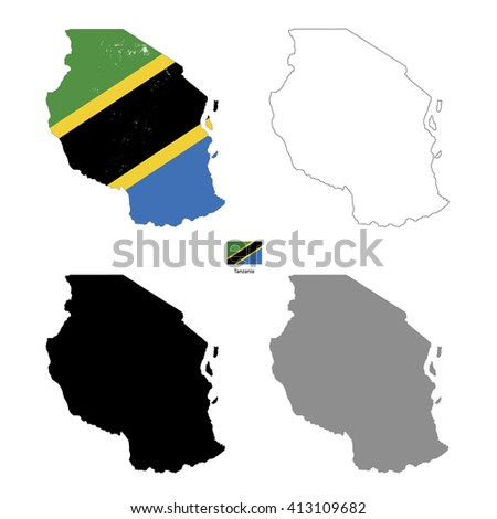 Tanzania country black silhouette and with flag on background, isolated on white - stock vector